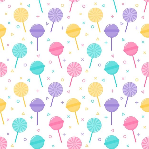 Kawaii cute pastel candy sweet desserts seamless pattern Premium Vector