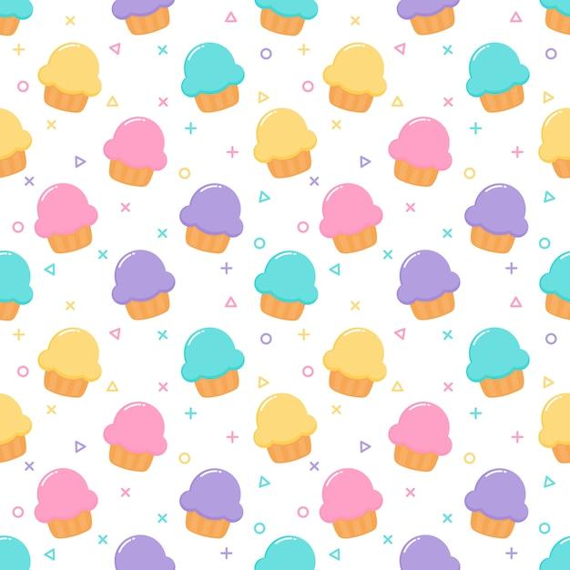 Kawaii cute pastel cupcake sweet summer desserts seamless pattern Premium Vector