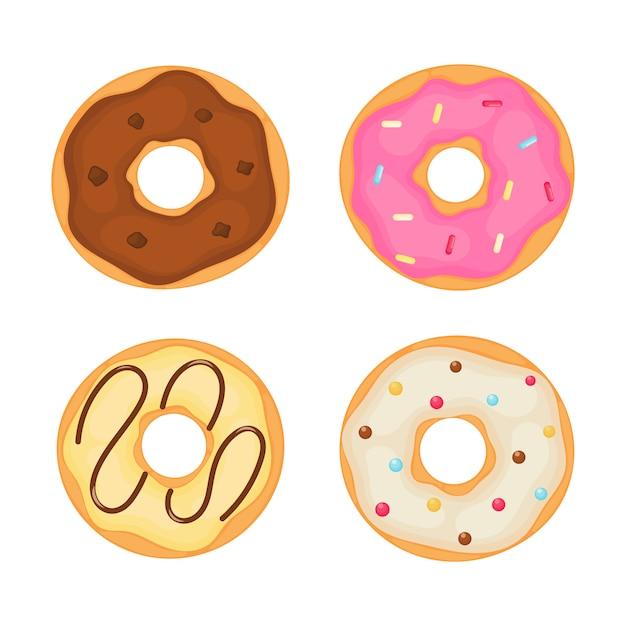 Kawaii cute pastel donuts sweet summer desserts cartoon Premium Vector