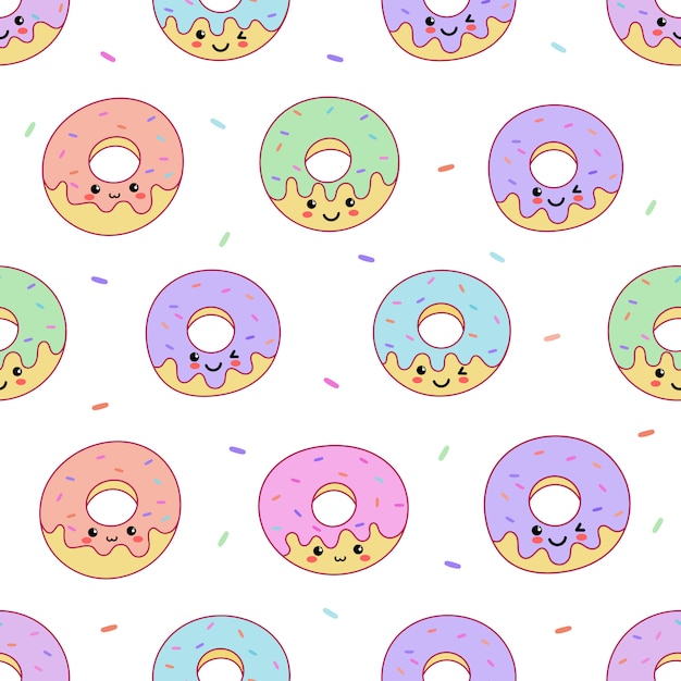 Kawaii cute pastel donuts sweet summer desserts with funny faces cartoon seamless pattern Premium Vector