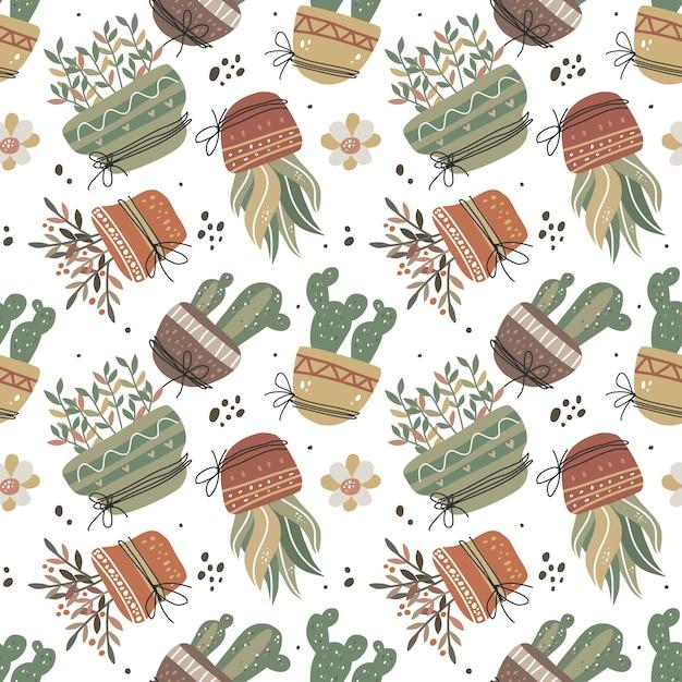 스칸디나비아 스타일의 냄비 원활한 패턴에 귀여운 귀여운 식물. 프리미엄 벡터