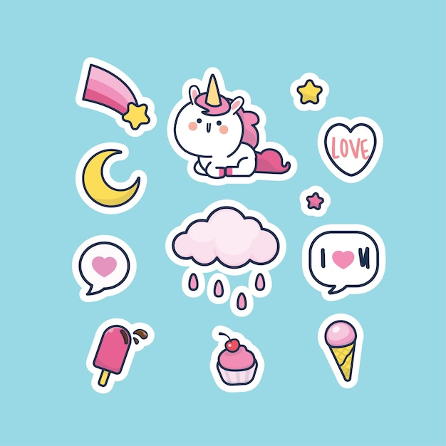 Kawaii cute style unicorn character collection sticker set Premium Vector