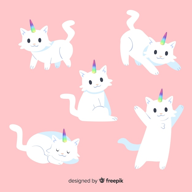Kawaii cute unicorn character collection Free Vector