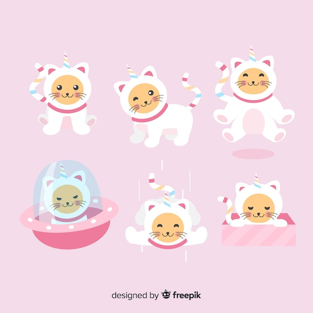 Kawaii cute unicorn character collection Vector | Free Download