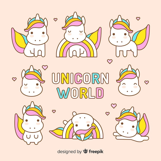 Kawaii cute unicorn character collection Free Vector
