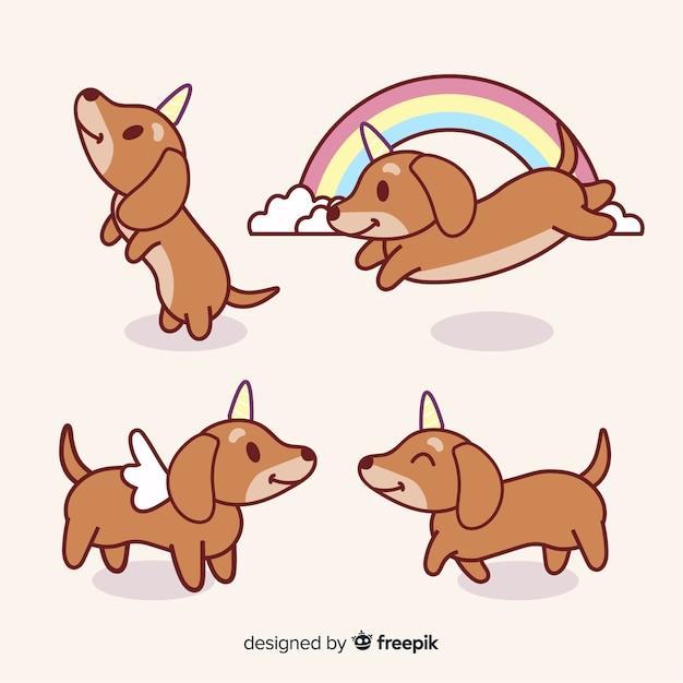 Kawaii doggycorn коллекция символов Бесплатные векторы