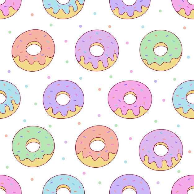 Kawaii donuts seamless pattern for cafe or restaurant. Premium Vector