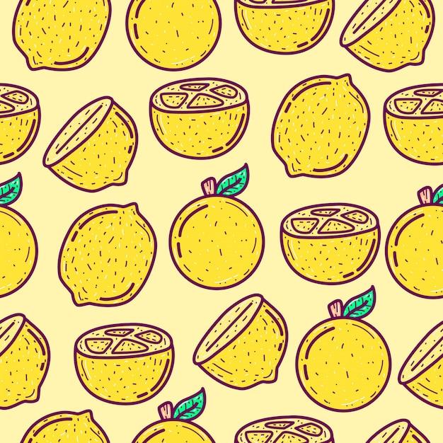 かわいい落書き漫画レモンフルーツパターン図 Premiumベクター