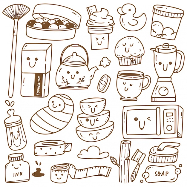 Kawaii doodle collection line art, suitable for coloring Premium Vector