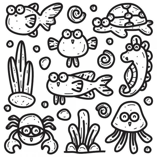 さまざまな海の動物のテンプレートのかわいい落書きs Premiumベクター