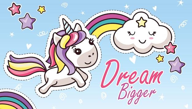Kawaii единорог в небесах радуга симпатичные облака надписи dream bigger стикер Premium векторы