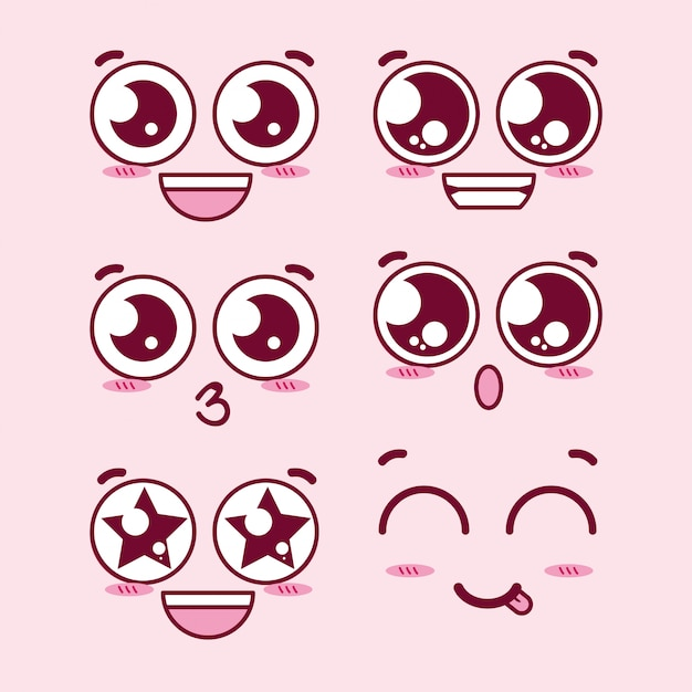 Premium Vector Kawaii Eyes Expression Faces Drawing manga eyes (part ii) again, to help ds with his art assignment. https www freepik com profile preagreement getstarted 3757895