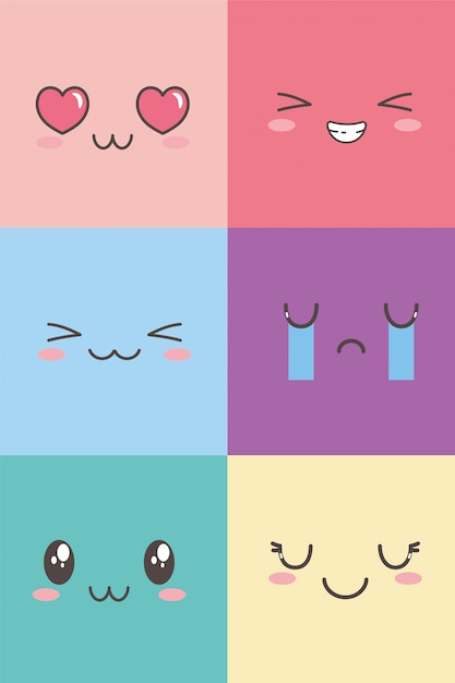 Kawaii facial adorable expression emoticon cartoon character set Premium Vector