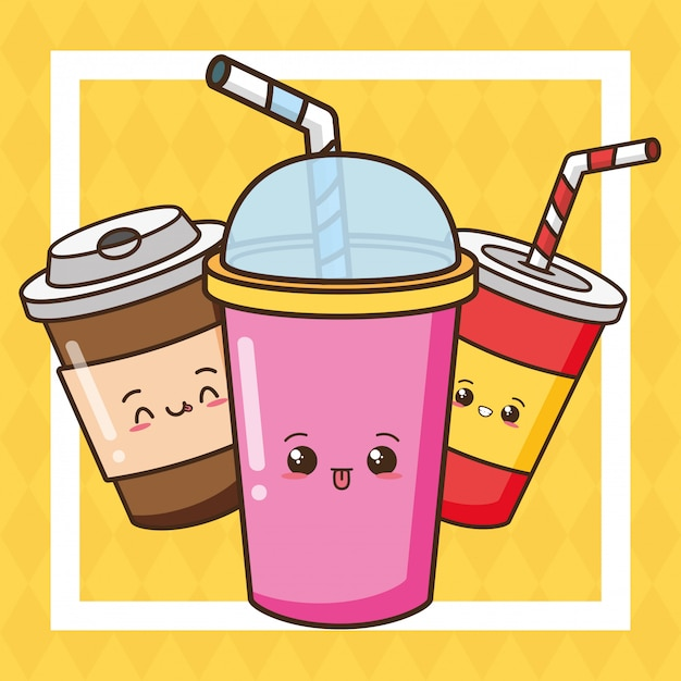 Kawaii fast food cute drinks illustration Free Vector
