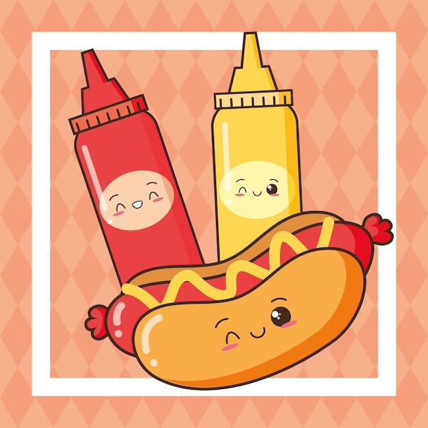 Kawaii fast food cute hotdog and cute ketchup and mustard Free Vector