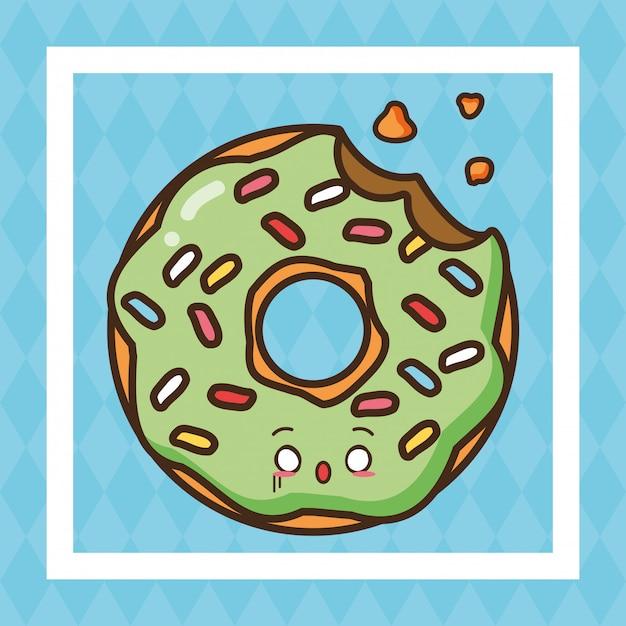 Kawaii fast food green donut cute food illustration Free Vector