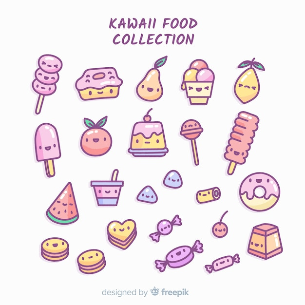Kawaii food collection Free Vector