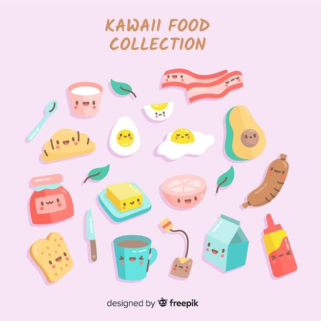 Коллекция продуктов kawaii Бесплатные векторы