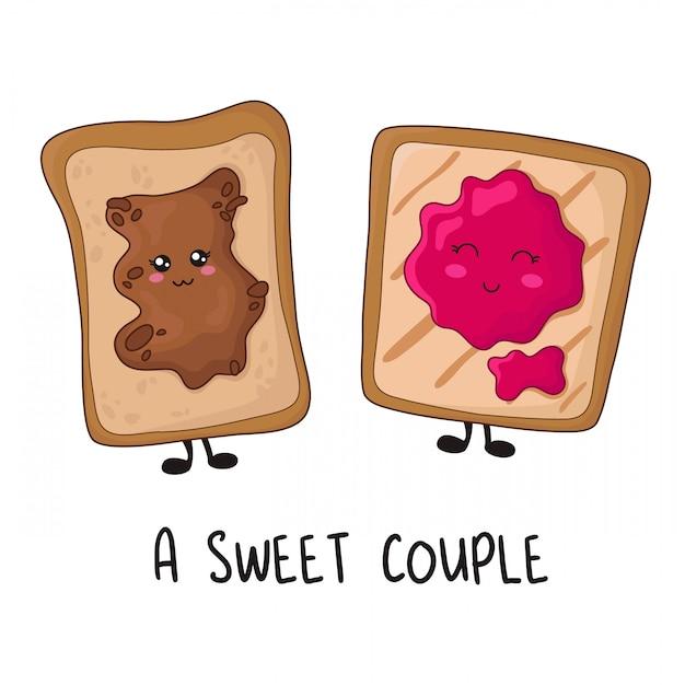 Kawaii food - sweet toasts with peanut butter, jam Premium Vector