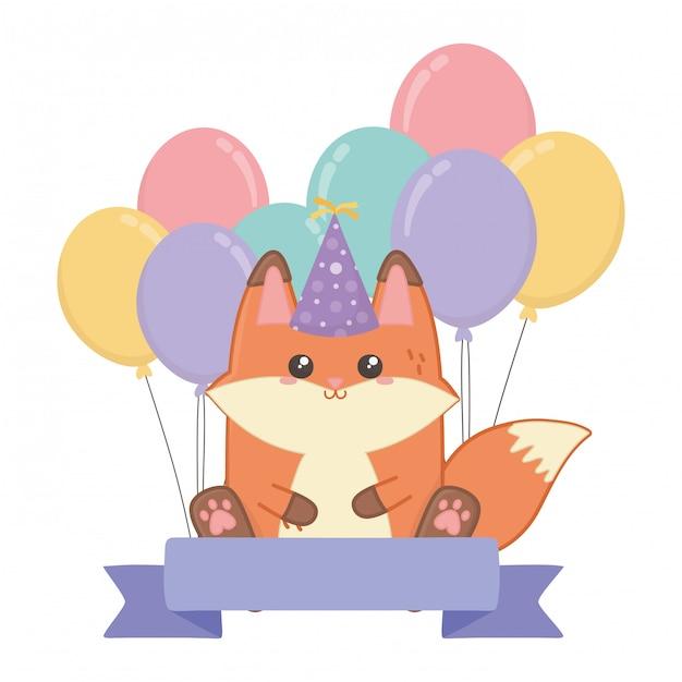 Kawaii fox and happy birthday Premium Vector