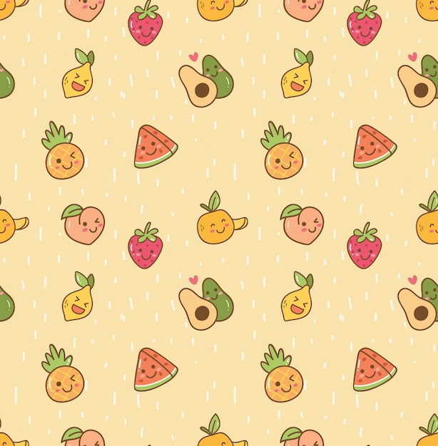 Kawaii fruit seamless background Premium Vector