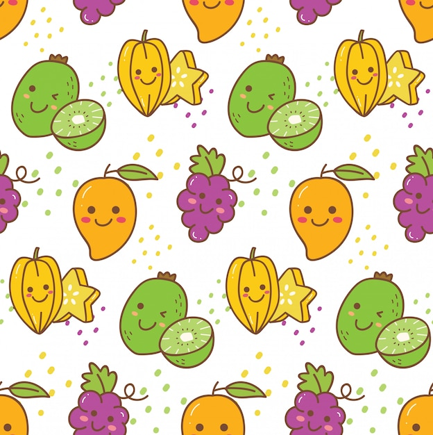 Kawaii fruit seamless pattern Premium Vector
