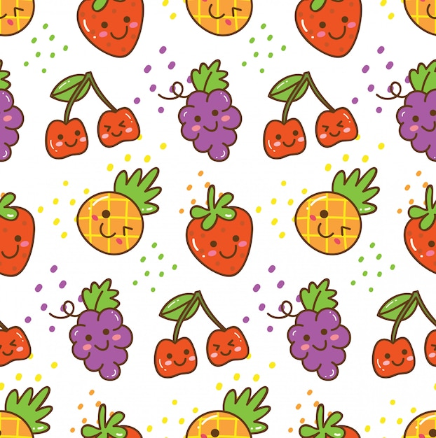 Kawaii fruit seamless pattern Premium Vector