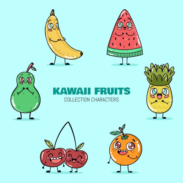 Kawaii fruits collection vector Free Vector