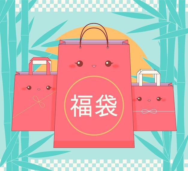 Borsa misteriosa fukubukuro kawaii per capodanno Vettore gratuito
