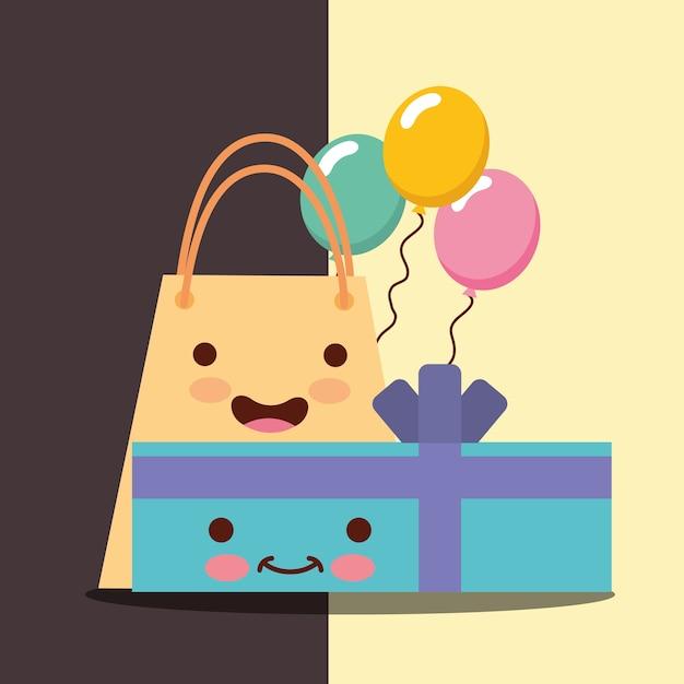 Kawaii gift box Premium Vector
