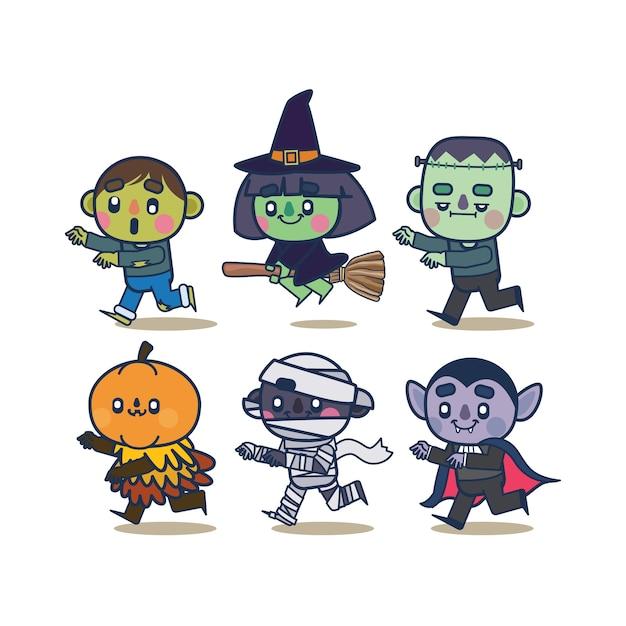 Коллекция персонажей kawaii halloween Premium векторы
