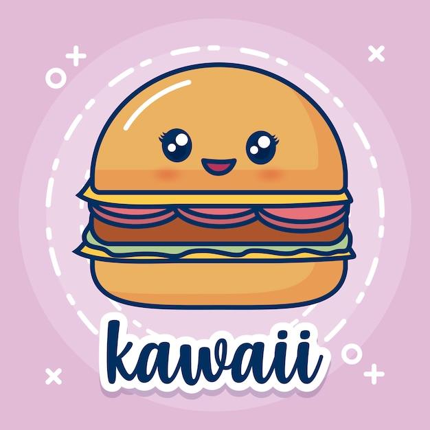 Kawaii hamburger icon Free Vector
