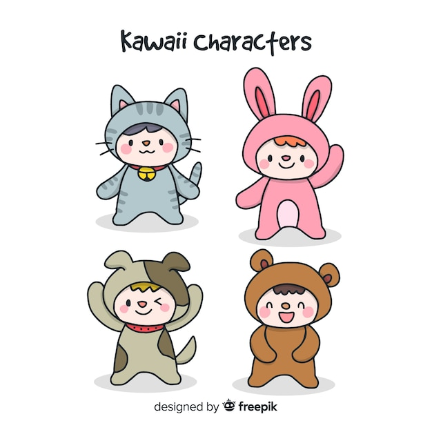 Kawaii hand drawn disguised character collection Free Vector