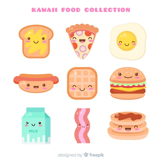 Kawaii hand drawn fast food collection Free Vector