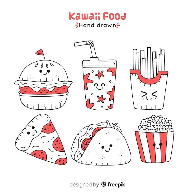 Kawaii hand drawn fast food collection Free Vector