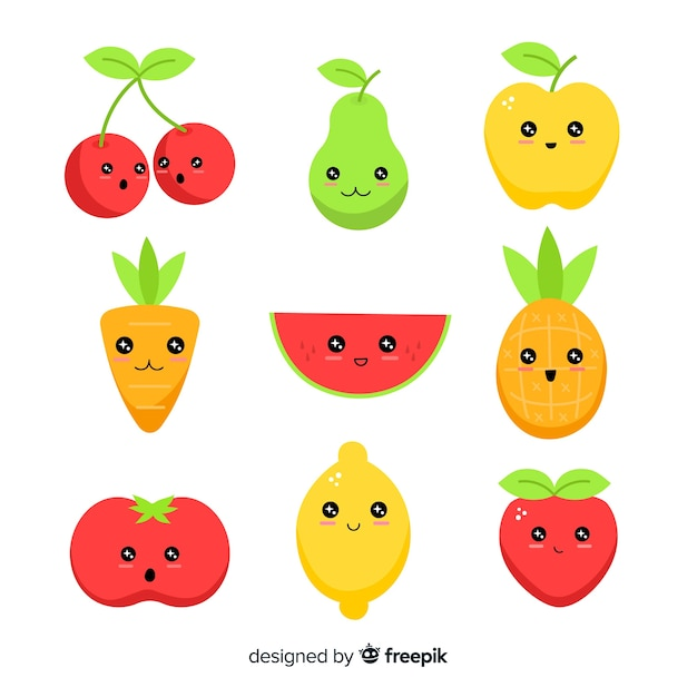 Kawaii hand drawn fruit collection Free Vector