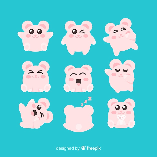 Kawaii hand drawn mouse collection Vector | Free Download