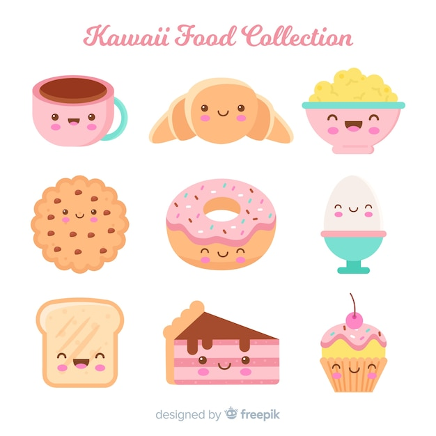 Kawaii hand drawn sweet food collection Free Vector