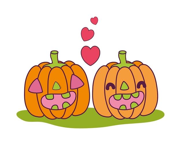 Kawaii happy pumpkin couple with heart Premium Vector