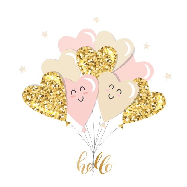 Kawaii heart balloons brunch. girly. gold glitter, pastel pink and beige. Premium Vector