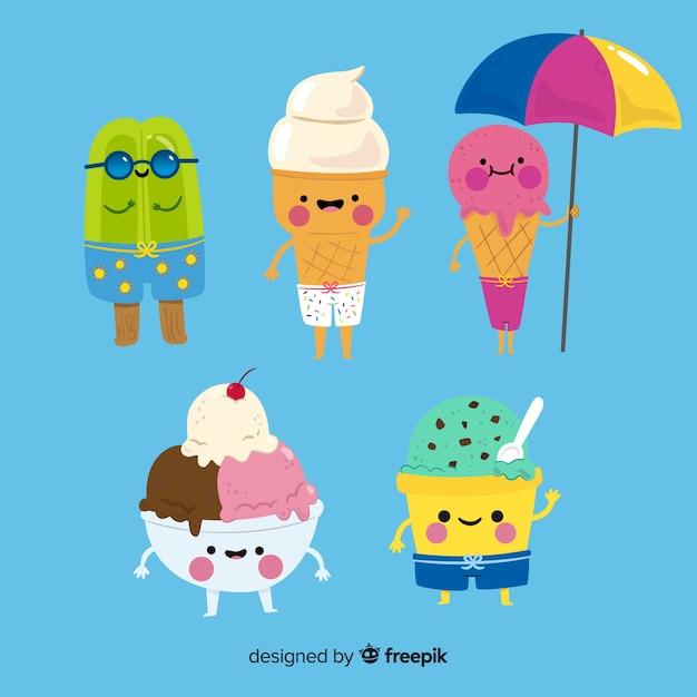 Kawaii ice cream character collection Free Vector