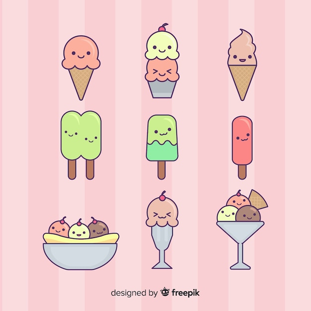 Kawaii ice cream character collection Free Vector