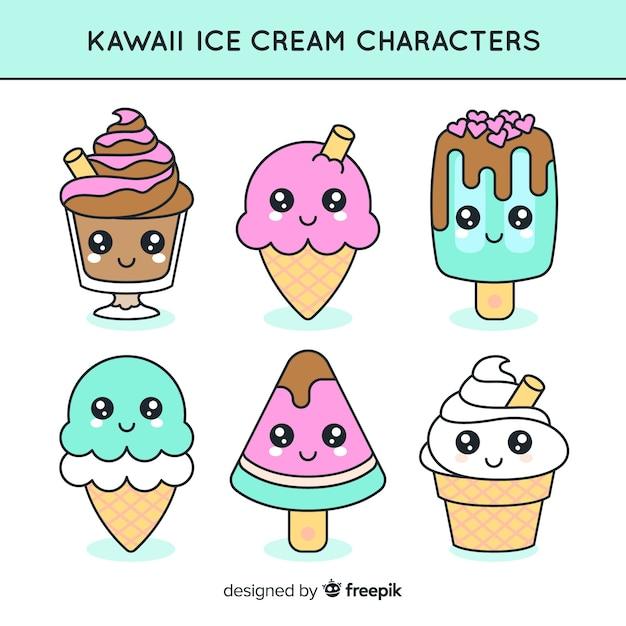 Kawaii ice cream characters collection Free Vector