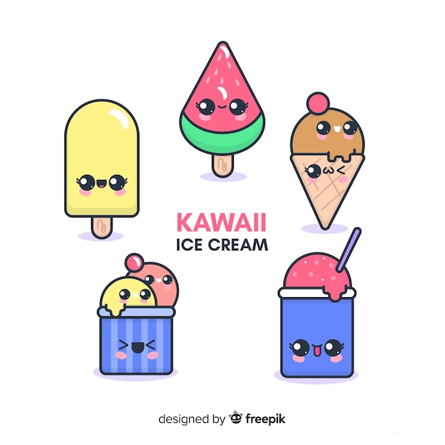 Kawaii ice cream characters collection Free Vector