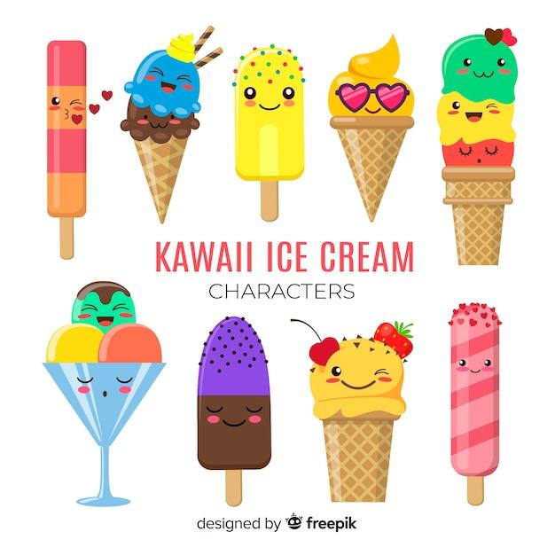 Kawaii ice cream characters Free Vector
