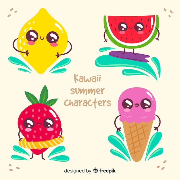Kawaii ice cream characters Free Vector