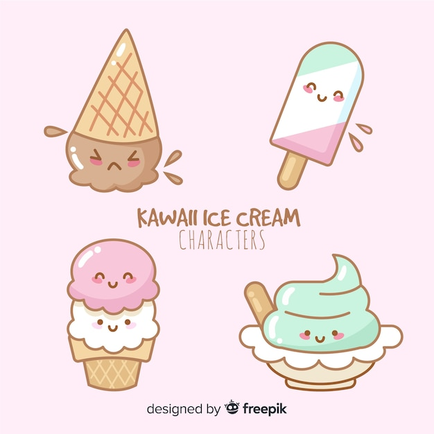Kawaii ice cream collection Free Vector