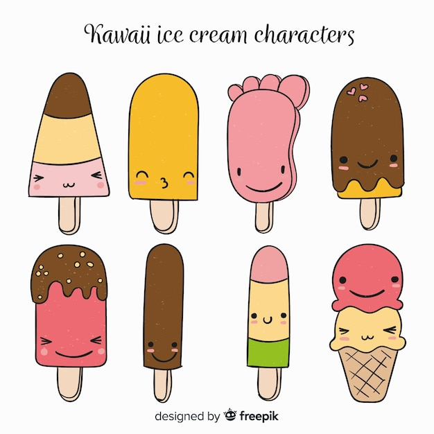 Kawaii Ice Cream Collection Vector Free Download