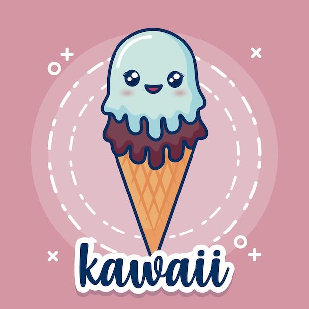 Kawaii ice cream icon Free Vector