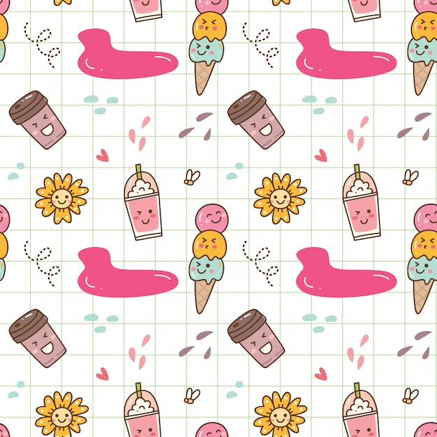 Kawaii ice cream seamless background Premium Vector